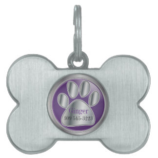 Purple and Silver Paw Print | Personalize Pet Name Tag