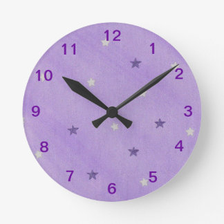 Purple and Silver Stars on Lavender Wall Clock