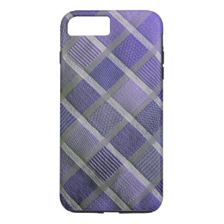 Purple and Silver Stylish Plaid iPhone 7 Plus Case
