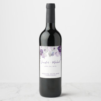 Purple and Silver Watercolor Floral Wedding Wine Label
