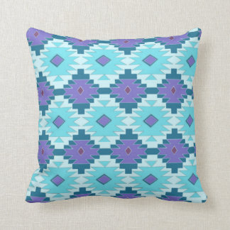 Purple and Sky Blue Tribal Pillow