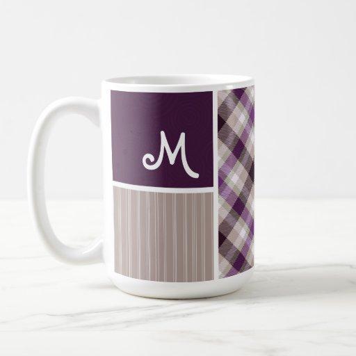 Purple and Tan Plaid Coffee Mugs