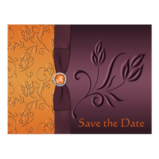 Purple and Tangerine Save the Date Card