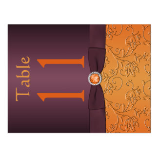 Purple and Tangerine Table Number Postcard