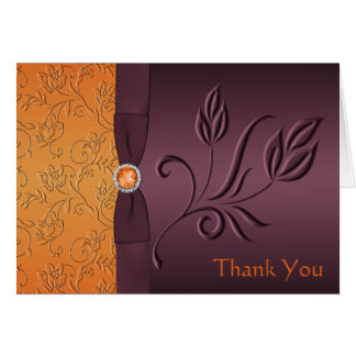 Purple and Tangerine Thank You Card