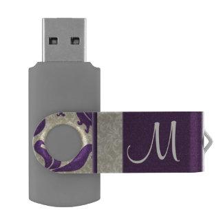 Purple and Taupe Damask   Monogrammed Flash Swivel USB 2.0 Flash Drive