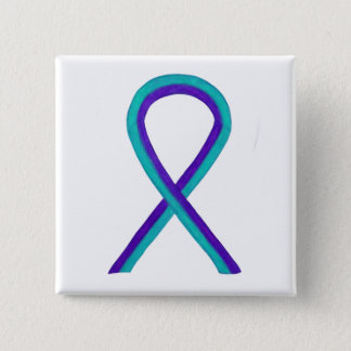 Purple and Teal Awareness Ribbon Custom Button Pin