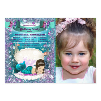 Purple and Teal Brunette Mermaid Birthday Party Card