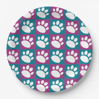 Purple and Teal Checkerboard Paw Print Paper Plate