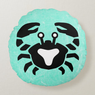 Purple and Teal Crab Cancer Horoscope Sign Pillow
