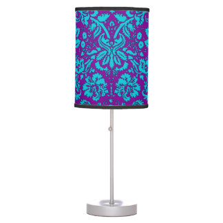 Purple and Teal Damask Pattern Table Lamp