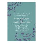 Purple and Teal Floral Swirl Wedding Invitation