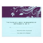 Purple and Teal Floral Swirls Wedding RSVP Personalized Announcements