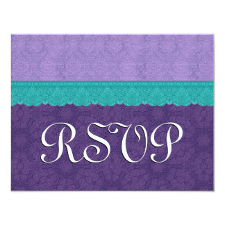 Purple and Teal Lace RSVP Wedding Response 3B Card