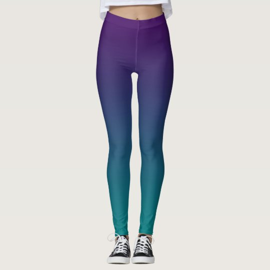 Purple And Teal Ombre Leggings
