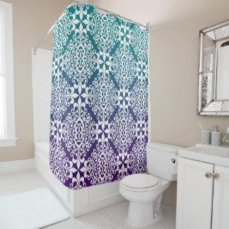 Purple And Teal Ombre Ornate Damask