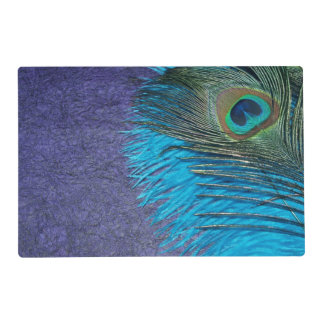 Purple and Teal Peacock Feather Laminated Placemat