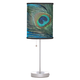Purple and Teal Peacock Table Lamp