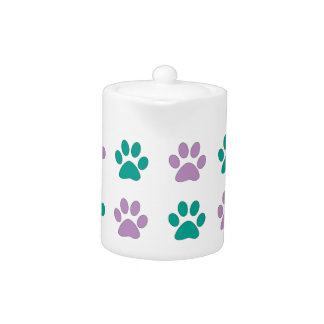Purple and teal puppy paw prints