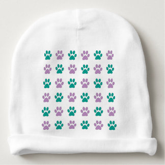 Purple and teal puppy paw prints baby beanie