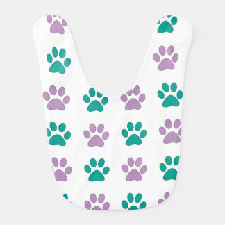 Purple and teal puppy paw prints baby bibs