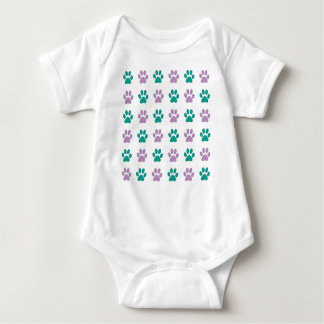 Purple and teal puppy paw prints baby bodysuit