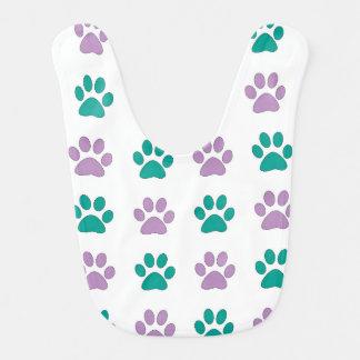 Purple and teal puppy paw prints bib