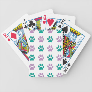 Purple and teal puppy paw prints bicycle playing cards