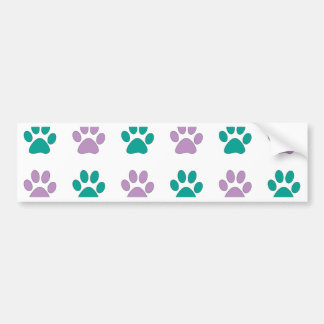 Purple and teal puppy paw prints bumper sticker