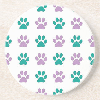 Purple and teal puppy paw prints coaster