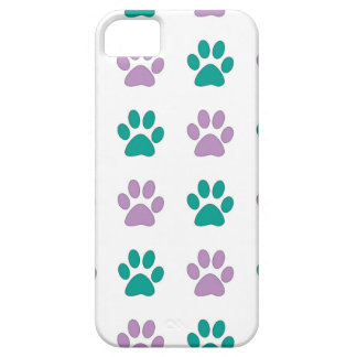 Purple and teal puppy paw prints iPhone 5 cases