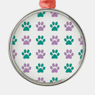 Purple and teal puppy paw prints metal ornament