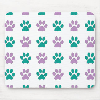 Purple and teal puppy paw prints mouse pad