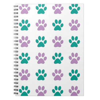 Purple and teal puppy paw prints notebook