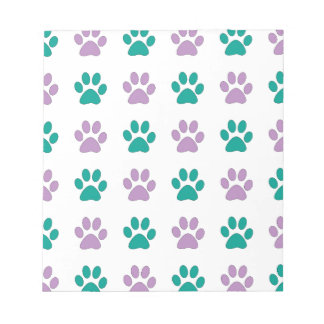 Purple and teal puppy paw prints notepad