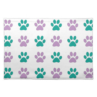 Purple and teal puppy paw prints placemat