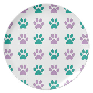 Purple and teal puppy paw prints plate