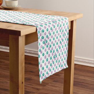 Purple and teal puppy paw prints short table runner