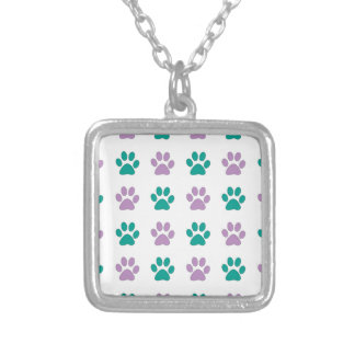Purple and teal puppy paw prints silver plated necklace