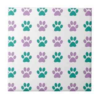 Purple and teal puppy paw prints tile