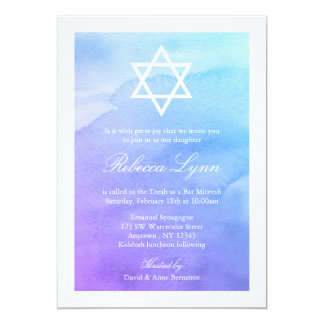 "Purple and Teal Watercolor Bat Mitzvah 5"" X 7"" Invitation Card"