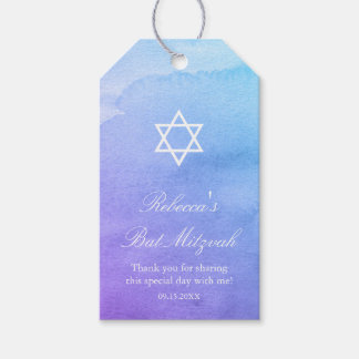 Purple and Teal Watercolor Bat Mitzvah Gift Tags