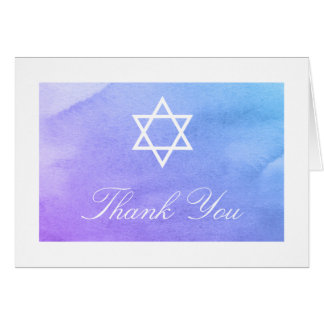 Purple and Teal Watercolor Bat Mitzvah Thank You Note Card
