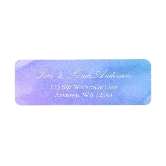 Purple and Teal Watercolor Return Address Return Address Label