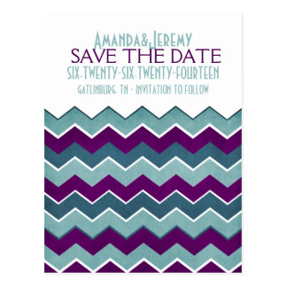 Purple and Teal Zig Zag Save The Date Postcard