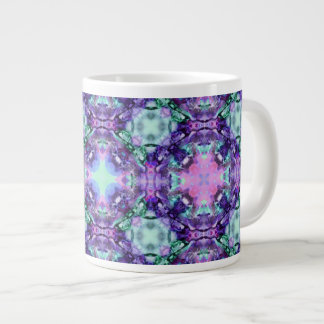 Purple and Turquoise Hippy Fractal Pattern Large Coffee Mug