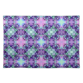 Purple and Turquoise Hippy Fractal Pattern Placemats
