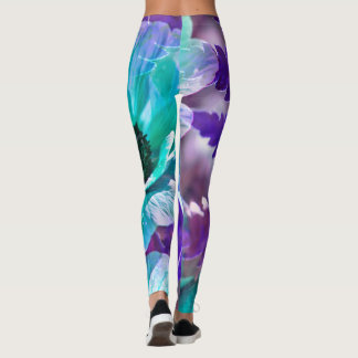 Purple and Turquoise Poppy Leggings
