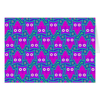 Purple and Turquoise Psychedelic Owl Pattern Greeting Card