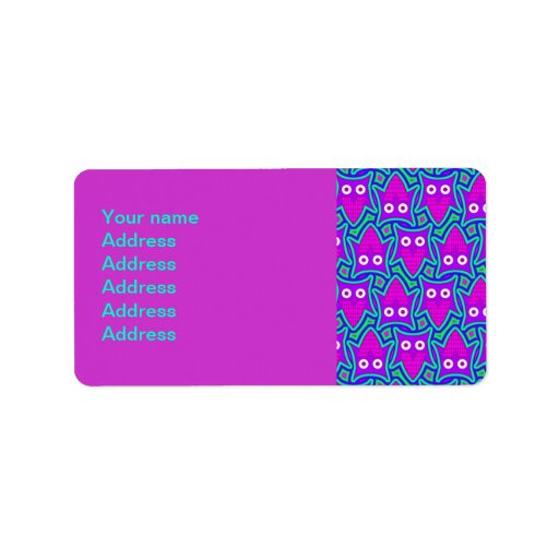 Purple and Turquoise Psychedelic Owl Pattern Custom Address Label